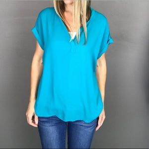 Pleione teal slouchy top size S
